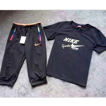 NIKE Fashion print short sleeve two piece suit