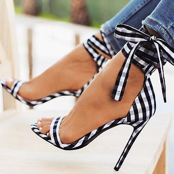 Sexy Fish-mouth Lattice Cross-strapped Slim Super High-heeled Shoes