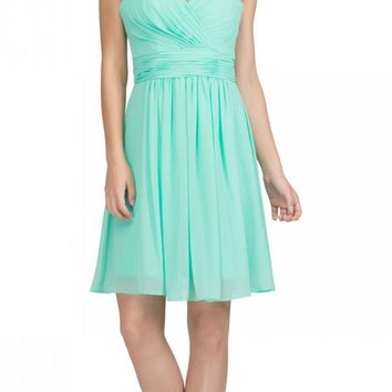 Starbox USA 6426 Pleated Bodice Knee Length Bridesmaid Dress Mint