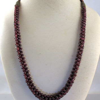 Garnet Bead Rope Necklace, Vintage Hand Woven Garnet Beads, Braided Silk Adjustable Pomegranate Seed Garnet Necklace, 1960s Boho Jewelry