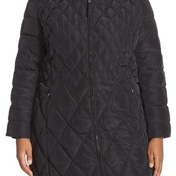 Plus Size Women's Jessica Simpson Faux Fur Trim Hooded Quilted Coat ,