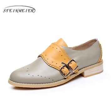 Cow leather big woman US size 9 designer vintage flats shoes round toe handmade grey yellow oxford shoes for women with fur