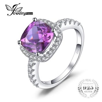 JewelryPalace Luxury 5.35ct Cushion Cut Created Alexandrite Sapphire Wedding Engagement Rings 925 Sterling Silver Fine Jewelry