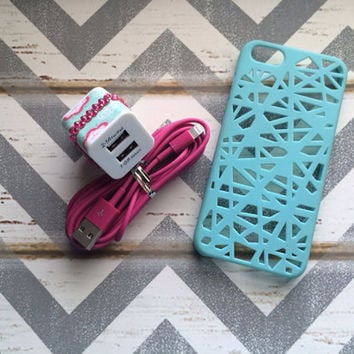 New Super Cute Jeweled Multi Colored Floral Designed Dual Wall USB Connector + 10ft Hot Pink IPhone 5/5s Cable Cord + Blue Birdnest Case