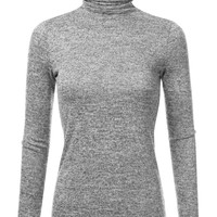 Doublju Marled Turtleneck Knit Sweater For Women With Plus Size (Made In USA)