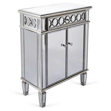 Sienna Mirrored Cabinet, Silver, Nightstands