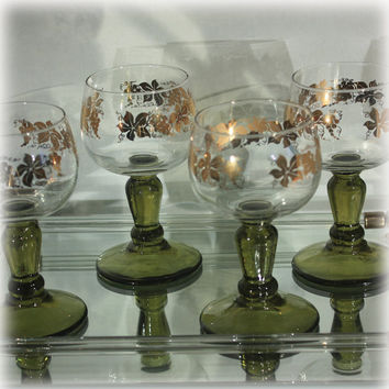 Set of 4 Vintage German Roemer Wine Glass with GoldLleaf Grapes Leaves Vine