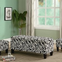 3pc Storage Bench and Ottomans Set in Zebra Print