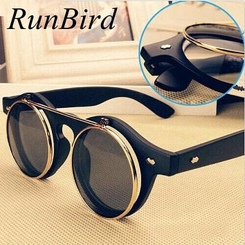Steampunk Goth Goggles Retro Flip Up Round Sun Glasses for Women Vintage Black Sunglasses Men Oculos de sol Feminino R036