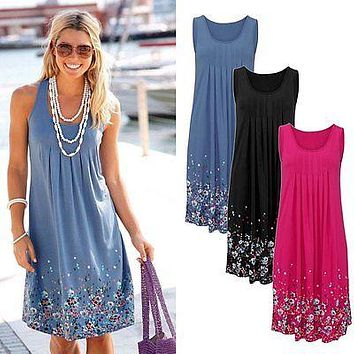 Women Ladies Sleeveless Floral Print Straight Summer Casual Evening Party Beach Dress Short Cotten O-neck Dress 3 colors