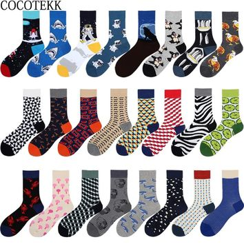 New Arrived Brand Trend Men Socks Animal Striped Lattice Design Popular Hip Hop Skateboard Socks Combed Cotton Long Socks Men