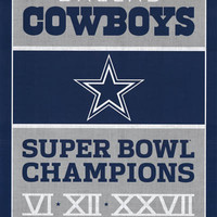 Dallas Cowboys NFL Super Bowl Champions Poster 22x34