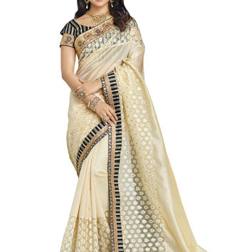 Beige and Gold Banarasi Kora Silk Saree