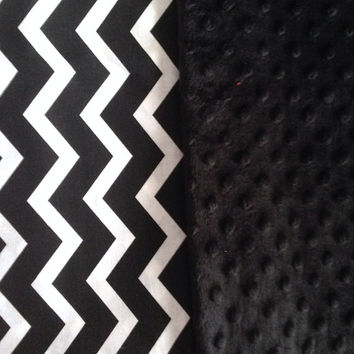 Black Baby Blanket (25x25 inches) - Black and White Chevron and Black Minky - link Stroller or Car Seat - Personalize with name