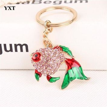 ESB8UV Lovely Fish Goldfish Crystal Charm Pendant Purse Handbag Car Key Keyring Keychain Party Wedding Birthday Gift Accessories