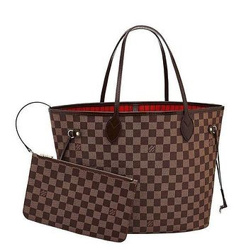 Louis Vuitton Shoulder Handbag Red Internal Bag Two Piece Suit Check