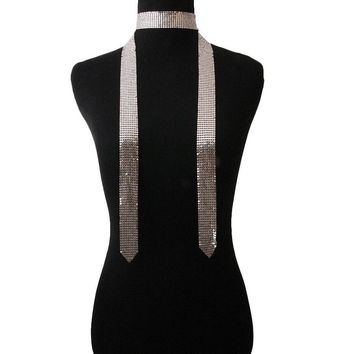 Silver Mesh Choker Scarf Necklace