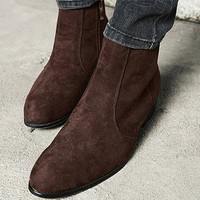 Side Zip Slip-On Ankle Boots