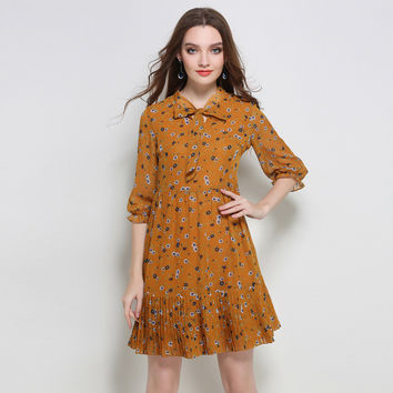 Women Vintage Bow Neck Floral Printed Ruffle Casual Dress Plus Size l to 5xl