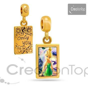 Charm for any Pandora bracelet Memory charm 18K Golden dangle Only you Tinkerbell