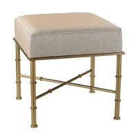 Sterling Industries Gold Cane Bench In Cream Metallic