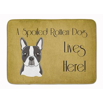 Boston Terrier Spoiled Dog Lives Here Machine Washable Memory Foam Mat BB1451RUG