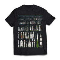 Rockets Of The World - Space - NASA - Science - Cosmos - Nerd - Black Shirt (High Quality Print on American Apparel) -