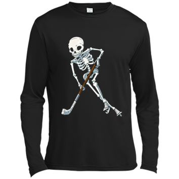 Skeleton Ice Hockey Halloween Funny Skull Gifts Tees Long Sleeve Moisture Absorbing Shirt