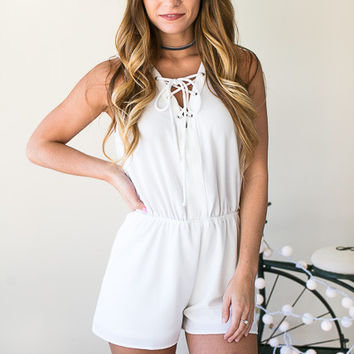 Follow My Lead Lace Up Romper - White