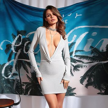 Women Bodycon Fashion Solid Color Deep V Long Sleeve Mini Dress