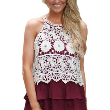 Floral Lace Crochet Burgundy Ruffle Layered Tank Top LAVELIQ