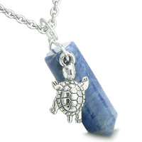 Amulet Turtle Lucky Charm Crystal Point Sodalite Positive Energy Pendant 18 Inch Necklace