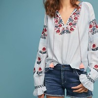 Tara Embroidered Peasant Top