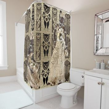 Black in Gold Shower Curtain