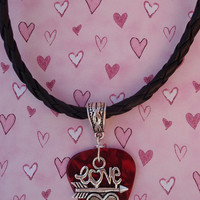 Love Arrow Heart Leather Necklace, Sweetheart Guitar Pick Jewelry, Tibetan Fancy Bail, Choice 12 Colors, Valentine's Day Chain