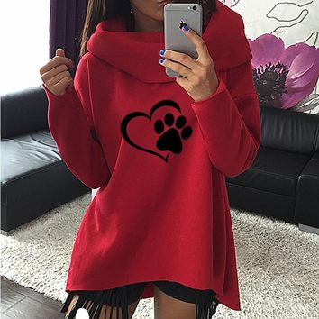 2018 New Fashion Heart Cat or Dog Pat Print Pattern Clothes Women Hoodies Scarf Collar Casual Sweatshirts Pullovers for Female