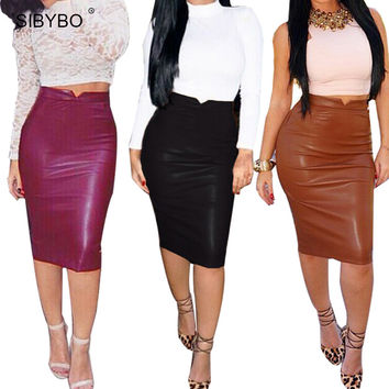 2016 Winter Autumn  Women PU Leather Skirt  High Waist Pencil Skirts  Sexy Club Wear Vintage Bodycon Bandage Midi Skirt