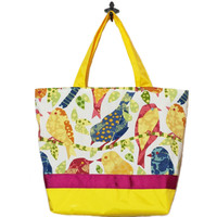 Birds Novelty | Dark Yellow with Dark Pink Ribbon | Essential Tote