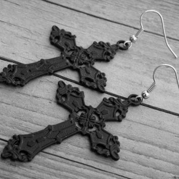 Black Cross Earrings Cross Jewelry Gothic Cross Earrings Goth Cross Jewelry Black Crosses Heavy Metal Punk Rock and Roll Rocker Rock n Roll