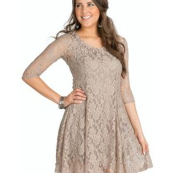 Jody California Women's Taupe Bell Sleeve Lace Dress