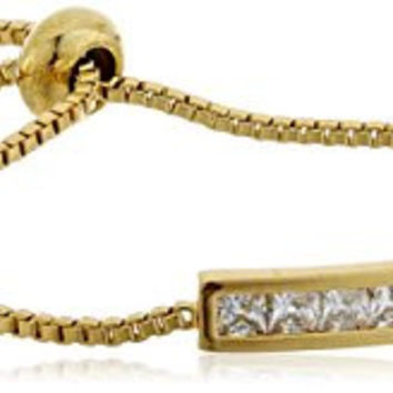 "CZ by Kenneth Jay Lane ""Basic"" 4cttw Round Cubic Zirconia Gold Adjustable Shambala Chanel Set Identification Bracelet"