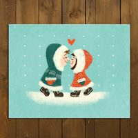 Anniversary Card Eskimo Kiss Greeting Card - Single Folded Personalized Card, Funny Cute Couples Blank Card, Digital Illustration, Christmas
