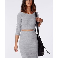 Missguided - Casey Knit Scoop Neck Crop Top Grey