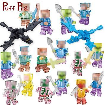 Crystal Zombie Steve Skeleton Dragon Figures Weapons Building Blocks Bricks Set Compatible Legoed Minecrafted City Toys For Kids