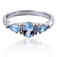 Oval And Pear Cut 3 Stone Blue Topaz Rhodium-Plated-Brass December Birthstone Ring SPJ
