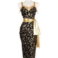 Downtown Dame Dress in Black Sateen with Gold Foil Music Notes