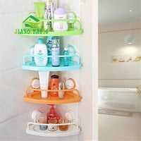 Bathroom Triangle Towel Rack Shelf Double Sucker Toothbrush Toothpaste Holder Hanger Corner Bath Dew Shampoo Storage Rack