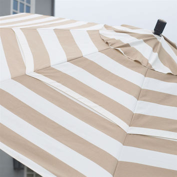 7.5 Ft Patio Umbrella With Crank Lift And Collar Tilt Beige And White Stripe