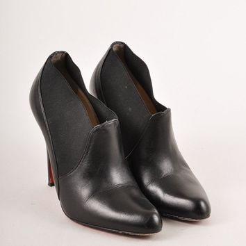 PEAP3D5 Christian Louboutin Black Elastic Trim Pointed Toe Leather Ankle Booties