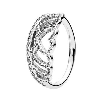 Women's PANDORA 'Hearts Tiara' Ring - Silver/ Clear